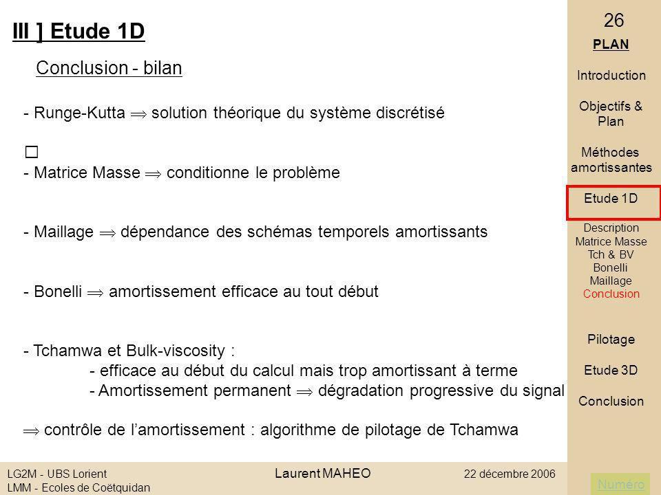 III ] Etude 1D Conclusion - bilan